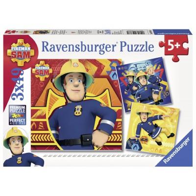 Ravensburger-09386 3 puzzles - Feuerwehrmann Sam