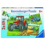 Ravensburger-09388 3 x 49 Teile Puzzleset - Landwirtschaftliche Maschinen