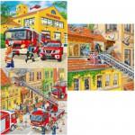 Ravensburger-09401 3 x 49 Teile Puzzleset - Feuerwehreinsatz