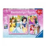 Ravensburger-09402 3 Puzzles - Disney Princess