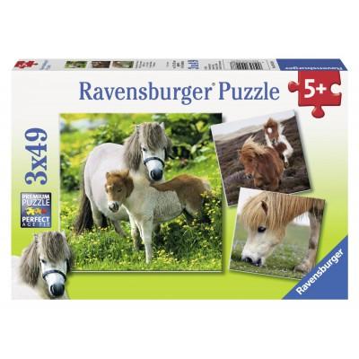 Puzzle Ravensburger-09428 Freundliche Ponies