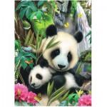 Puzzle  Ravensburger-09608 Pandafamilie