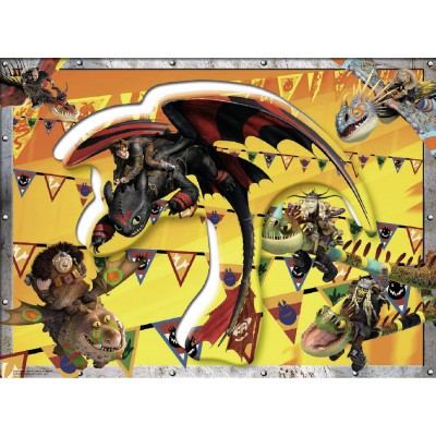 Ravensburger-10020 Konturpuzzle - Dragons auf in den Wettkampf
