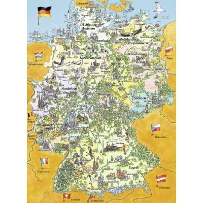 Puzzle Ravensburger-10519 Bunte Deutschlandkarte