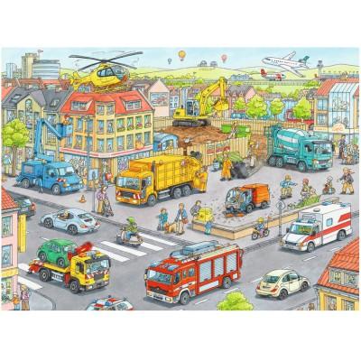 Puzzle Ravensburger-10558 Fahrzeuge in der Stadt