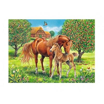 Puzzle Ravensburger-10577 XXL Teile - Pferdeglück auf der Wiese