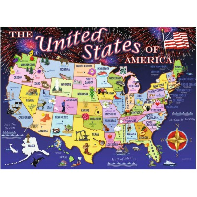 Puzzle Ravensburger-10661 XXL Teile - Staaten der USA