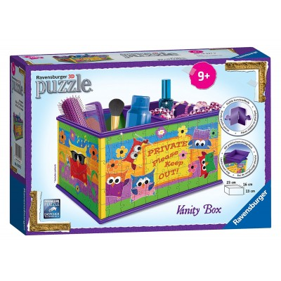 Ravensburger-12097 3D Puzzle - Girly Girls Edition - Aufbewahrungsbox Funky Eulen