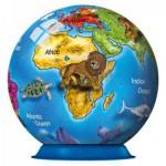 Ravensburger-12126 Puzzleball - Illustrierter Globus (auf Englisch)