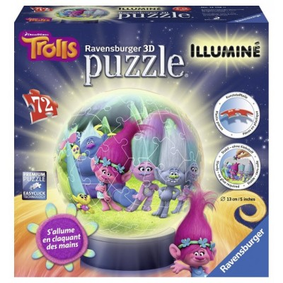 Ravensburger-12138 3D Puzzle mit LED - Trolls