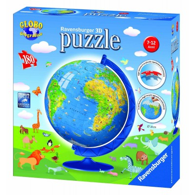 Puzzle Ravensburger-12334 Globus auf Italienisch