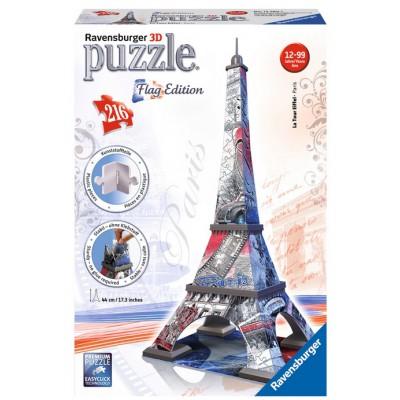 Ravensburger-12580 Puzzle 3D - Eiffelturm Flag Edition