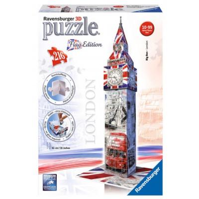 Ravensburger-12582 3D Puzzle - Big Ben Flag Edition