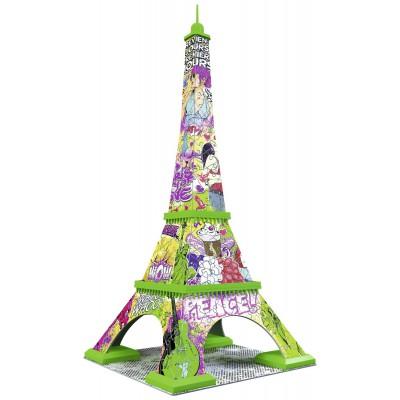 Ravensburger-12598 3D Puzzle - Eiffelturm Pop Art