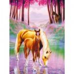 Ravensburger-12726 XXL Puzzleteile: Pferde im Nebel