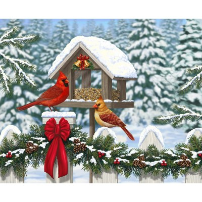 Puzzle Ravensburger-13582 XXL Teile - Cardinals at Christmas