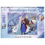 Puzzle  Ravensburger-13610 XXL Teile: Frozen - Die Eiskönigin, Glitzernder Schnee