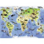 Puzzle  Ravensburger-13669 Bunte Tierweltkarte