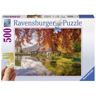 Puzzle Ravensburger-13672 XXL Teile - Mühle am Blautopf