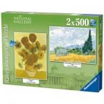 Ravensburger-14070 2 Puzzles -  Vincent Van Gogh - Sonnenblumen - Getreidefeld mit Zypressen