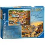 Ravensburger-14076 2 Puzzles - Küsten Regionen