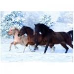 Puzzle  Ravensburger-14140 Galoppierende Pferde im Schnee