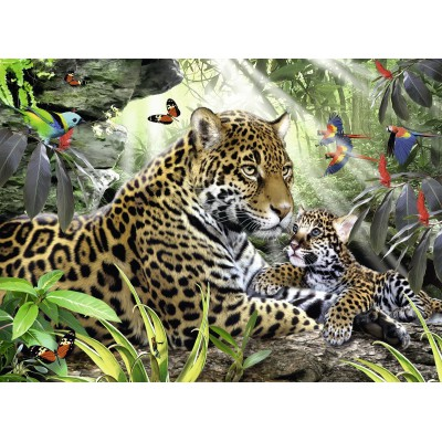 Puzzle Ravensburger-14486 Jaguar Nachwuchs