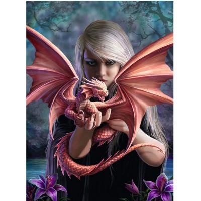 Puzzle Ravensburger-14643 Anne Stokes: Drachenmädchen