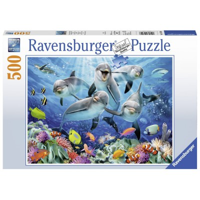 Puzzle Ravensburger-14710 Delfine im Korallenriff