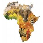 Ravensburger-16157 Silhouette Puzzle - Afrikanischer Kontinent