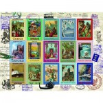 Puzzle  Ravensburger-16602 Vacations Stamps