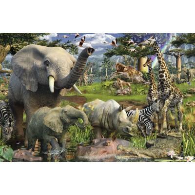 Puzzle Ravensburger-17070 Tiere an der Wasserstelle