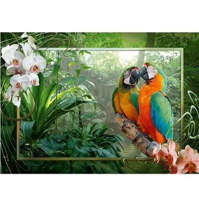 Puzzle Ravensburger-19188 Papageien im Dschunge