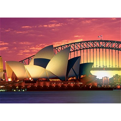 Puzzle Ravensburger-19211 Sydney, Oper mit Harbour Bridge