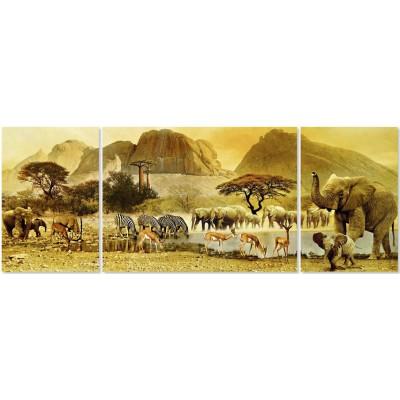 Puzzle Ravensburger-19375 Triptychon: Unterwegs in Afrika