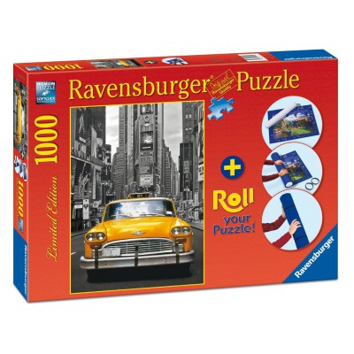 Ravensburger-19907 New York Taxi, 1000 Teile Puzzle + Roll your Puzzlematte