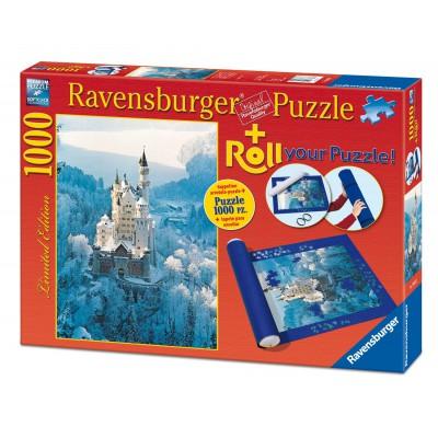 Ravensburger-19908 Schloss Neuschwanstein im Winter, 1000 Teile Puzzle + Puzzlematte