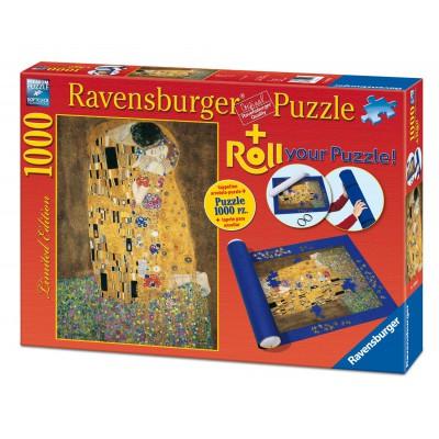 Ravensburger-19910 Klimt: Der Kuss,  1000 Teile Puzzle + Puzzlematte