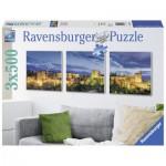 Ravensburger-19918 3 Puzzles - Die Alhambra im Dämmerlicht