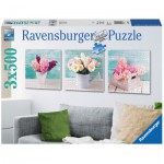 Ravensburger-19922 3 Puzzles - Bunter Blumengruß