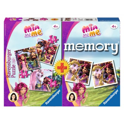 Ravensburger-21106 Mia and Me 3 Puzzles + Memory