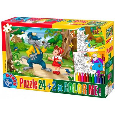 Puzzle Dtoys-50380-PC-06 Rotkäppchen + 2 Bilder zum Buntmalen