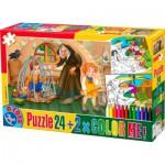Puzzle  Dtoys-50380-PC-07 Hänsel und Gretel + 2 Bilder zum Buntmalen