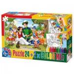 Puzzle  Dtoys-50380-PC-08 Schneewittchen + 2 Bilder zum Buntmalen