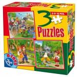 Puzzle  Dtoys-50922-BS-06 Märchen und Legenden: Hänsel und Gretel, Der gestiefelte Kater, Rotkäppchen