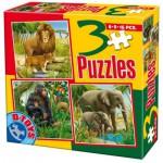 Dtoys-60150-AL-04 Puzzle 6,9 und 16 Teile: Löwen, Affen und Elefanten