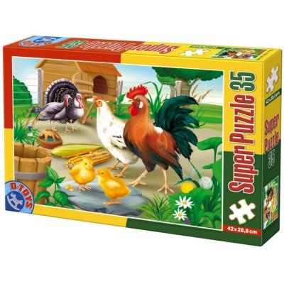 Puzzle Dtoys-60198-AN-01 XXL Teile - Huhn, Hahn und Kücken