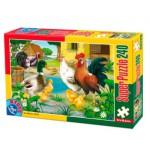 Puzzle  Dtoys-60211-AN-01 Tiere vom Bauernhof: Huhn, Hahn, Ente und Kücken