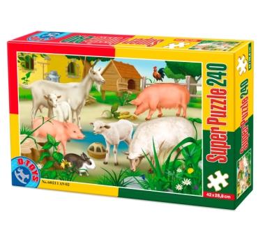 Puzzle Dtoys-60211-AN-02 Tiere vom Bauernhof: Schweine, Schafe und Kaninchen
