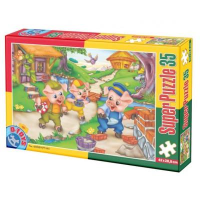 Puzzle Dtoys-60389-PV-04 XXL Teile - Die 3 kleinen Schweinchen
